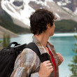 Man Looking at Mountain Lanscape — Stock Photo