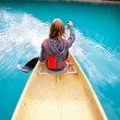 Woman rowing boat — Stock Photo