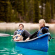 Stock Photo: Couple Relaxing in Canoe