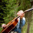 Woman Singing Free in the Forest — Stock Photo