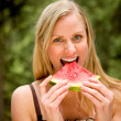 Woman Eating Watermelon — Stock Photo