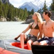 Stock Photo: Man and Woman Rafting