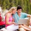 Laptop Outdoor Couple Camping — Stock Photo