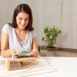 Architect with Model and Color Swatches — Stock Photo