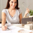 Architect with Blueprints and House Model — Foto de Stock