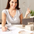 Architect with Blueprints and House Model — Stock Photo