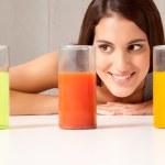 Three Science Beakers with Liquid — Stock Photo