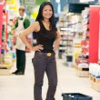 Portrait of Asian Woman in Grocery Store - Stock Photo