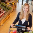 Portrait of woman holding shopping cart - Stockfoto