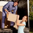 Moving Truck Couple — Stock Photo