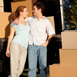 Couple with Moving Van — Stock Photo