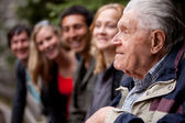 Elderly Man Telling Stories — Stock Photo