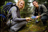 Finding a Geocache — Stock Photo