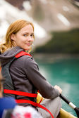 Woman in Canoe — Stock Photo
