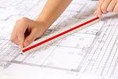 Scale Ruler on Blueprints — Stock Photo