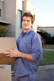 Oudoor Man with Moving Boxes — Stock Photo