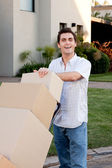 Man with Moving Boxes — Stock Photo