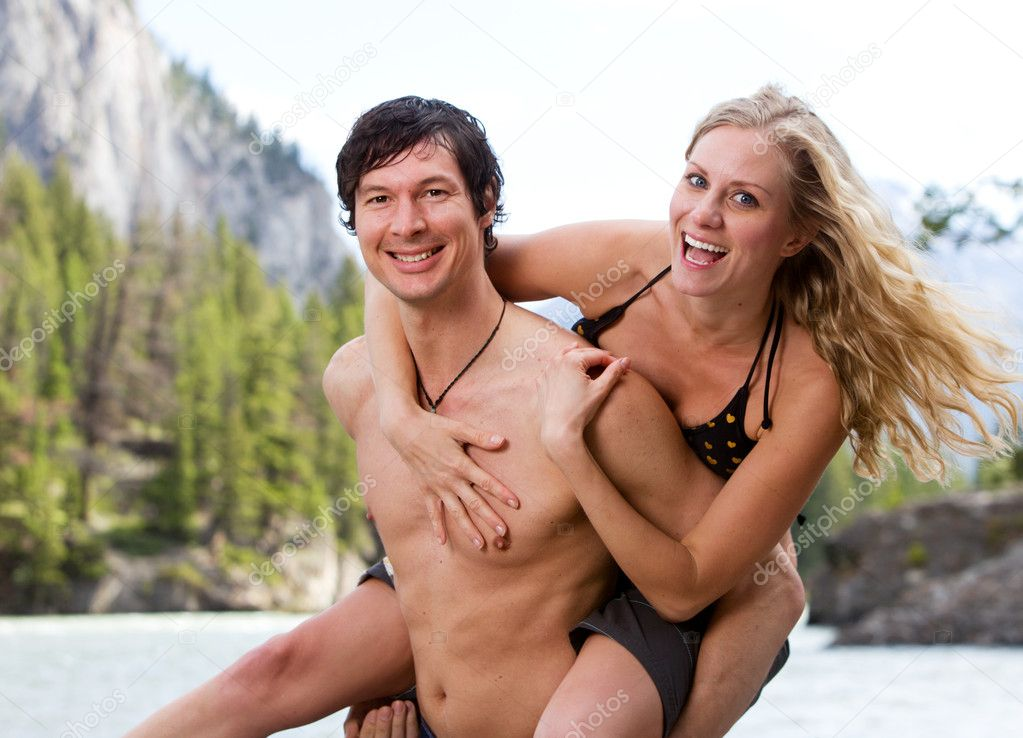 A playing couple at a scenic location in Banff — Stock Photo #5711174