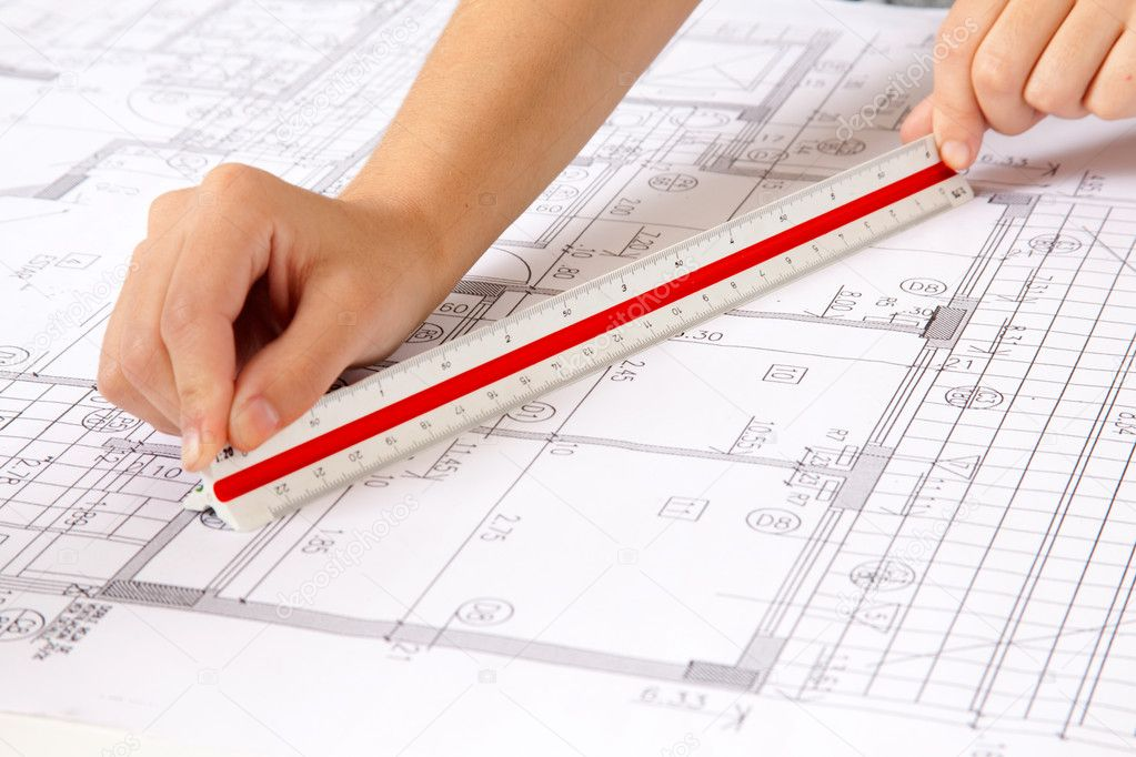 Scale ruler on blueprints stock photo simplefoto 5712976 for Blueprint scale