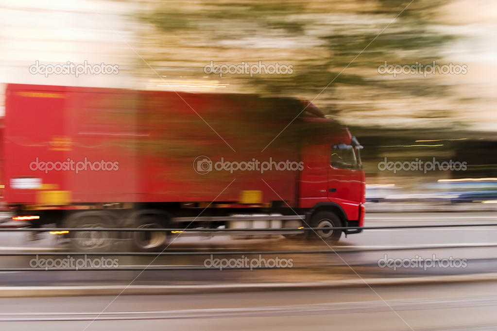 A transport truck blur abstract showing speed — Stock Photo #5722632