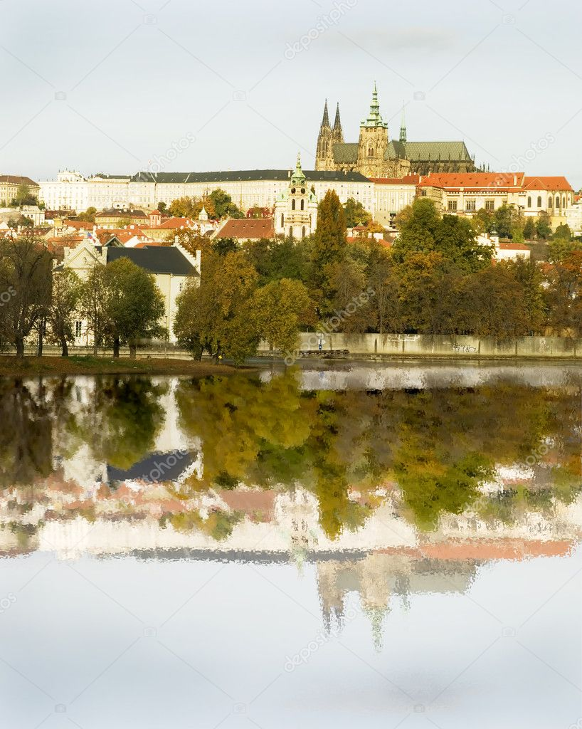 The Prague castle over looking the river, Czech Republic  Stock Photo #5722784