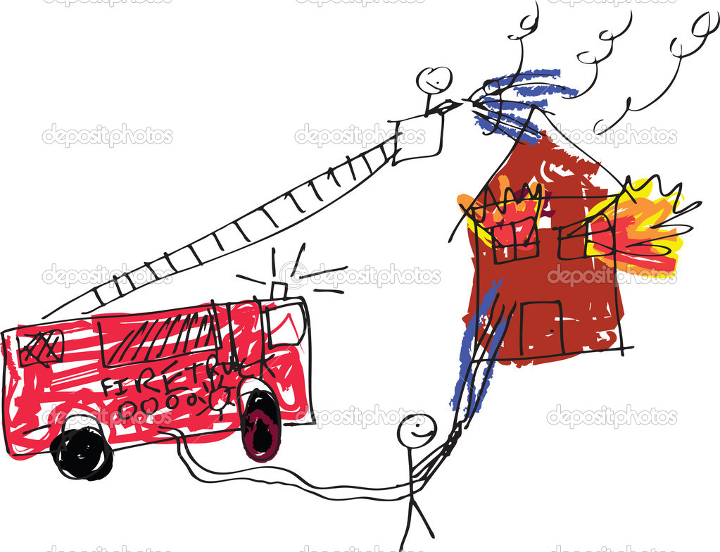 A vector format image of a child like drawing of firemen trying to save a burning house. — Stock Photo #5724186
