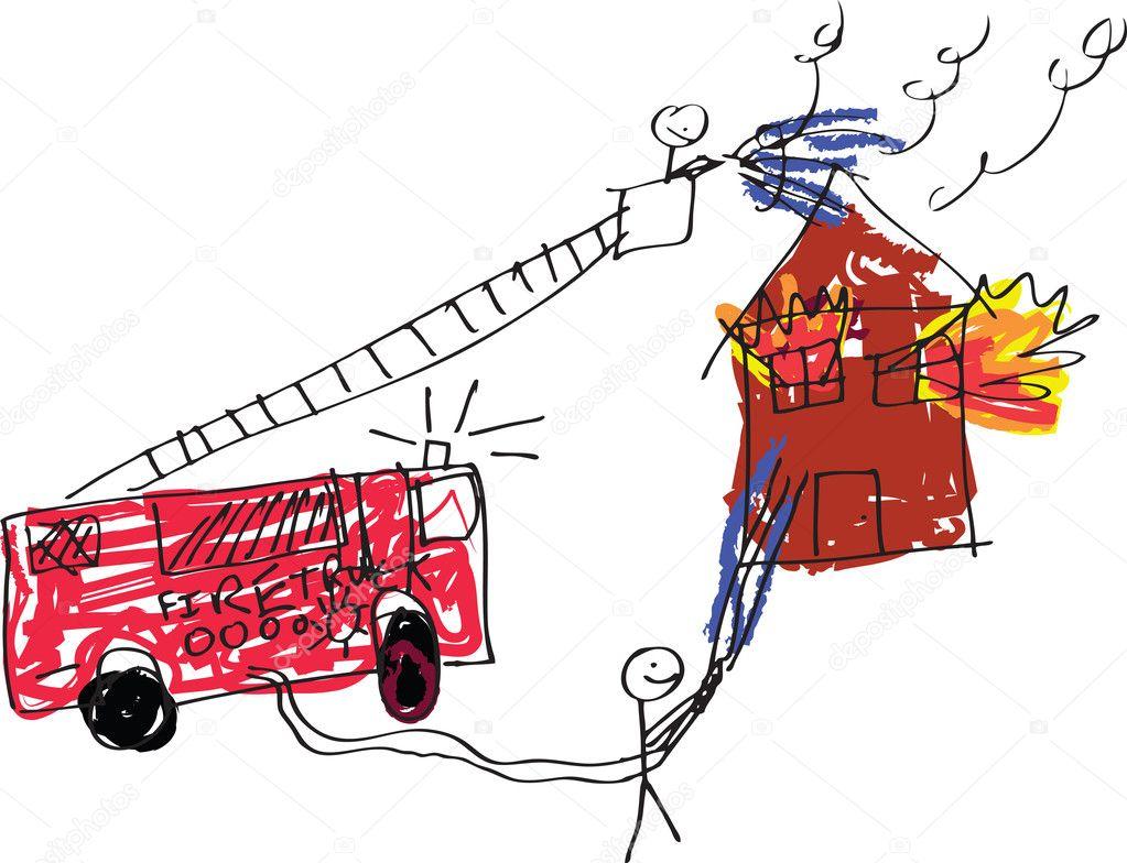 Как нарисовать пожарных