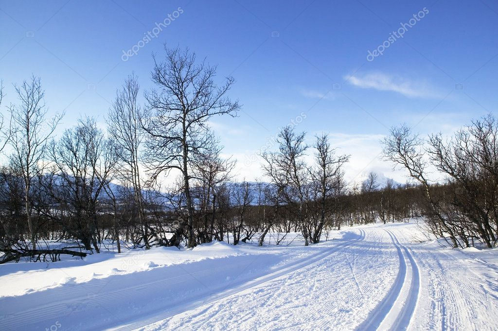 Cross country ski trails in the mountains of Norway. — Stock Photo #5725570