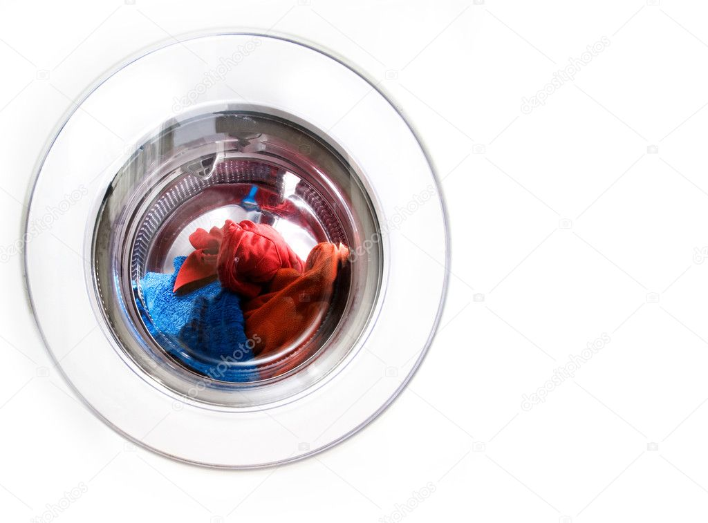 Washing machine detail with colorful clothes  Stock Photo #5727123