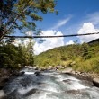 Stock Photo: Mountain River with Hanging Bridge