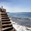 Stone Stairway Ocean - Stock Photo