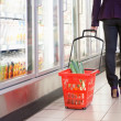 Woman with Shopping Basket — Stockfoto