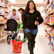 Asian Woman Grocery Store — Stock Photo