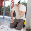 Architect working on blueprint — Stock Photo