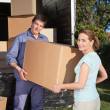 Portrait of couple carrying cardboard box — Stock Photo