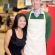 Grocery Stoer Owner With Customer — Stock Photo