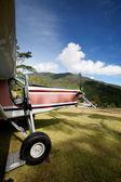 Avión en la pista de montaña — Foto de Stock