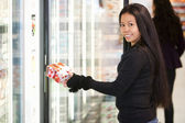 Woman Buying Yogurt — Stock Photo