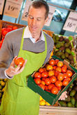 Grocery Store Clerk with Tomatoes — Stock Photo