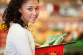 Supermarket Shopping Woman Portrait — Stok fotoğraf