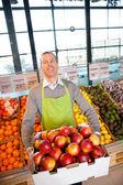 Supermarket Owner with Fresh Produce — Stock Photo