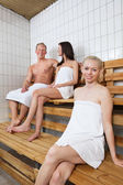 Group of in sauna — Stock Photo