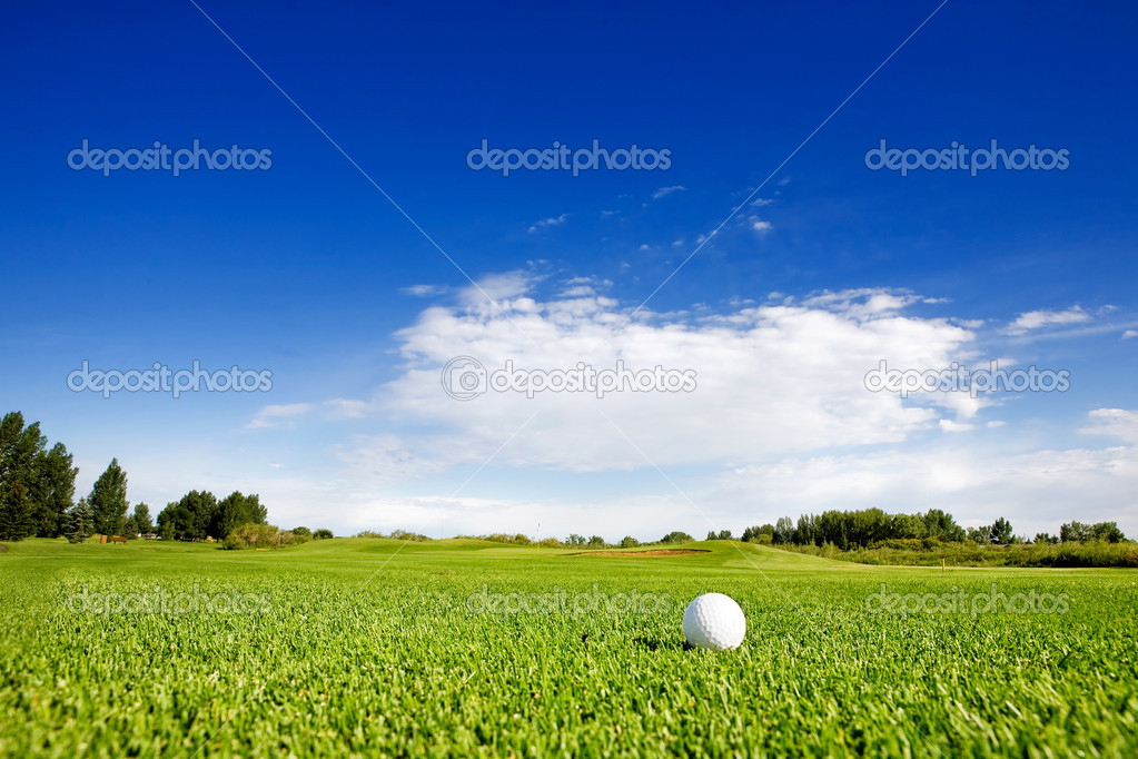 A golf ball on a fairway on a golf couse — Stock Photo #5730282