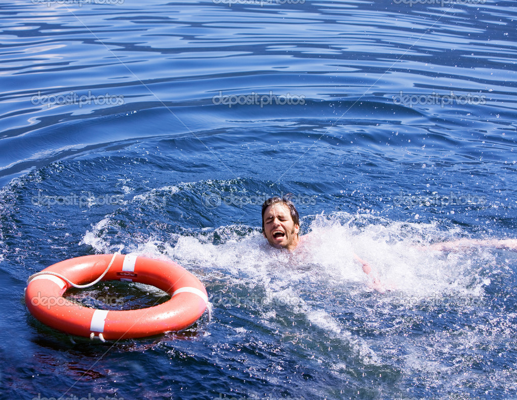 Drowning man stock image