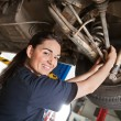 Portrait of smiling young female mechanic — Stock Photo