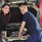 Female Customer with Mechanic — Stock Photo