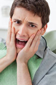 Scared man in Dental Clinic — Stock Photo