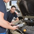Stock Photo: Mechanics with Diagnostic Equipment