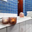 Beautiful woman in bathtub at luxury spa — Stock Photo