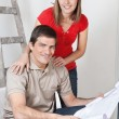 Couple with Home Blueprints — Stock Photo